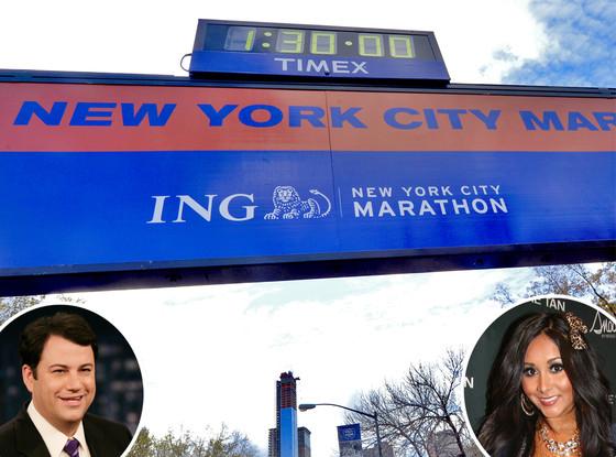 New York Marathon Sign, Jimmy Kimmel, Snooki