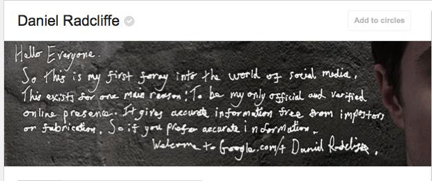 Daniel Radcliffe, Google+