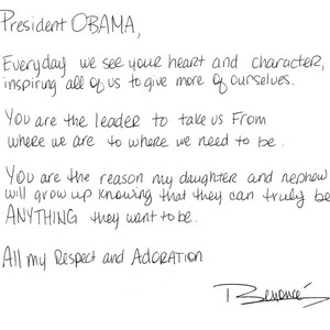 Beyonce, Letter to President