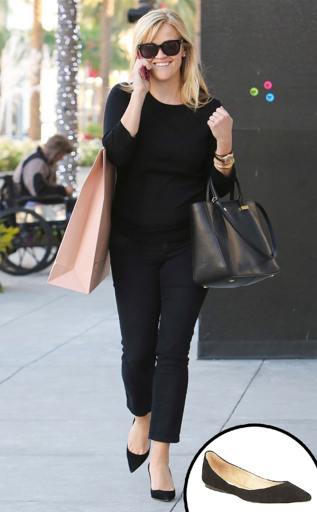 Reese Witherspoon, Pointed Toe Black Flats