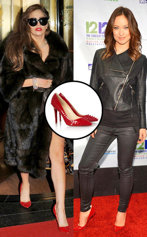 aa8b456bffd Lady Gaga and Olivia Wilde  Fashion Twinsies in Christian Louboutin Spiked  Pigalle Heels