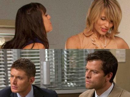 Misha Collins, Jensen Ackles, Supernatural, Dianna Agron, Lea Michele, Glee