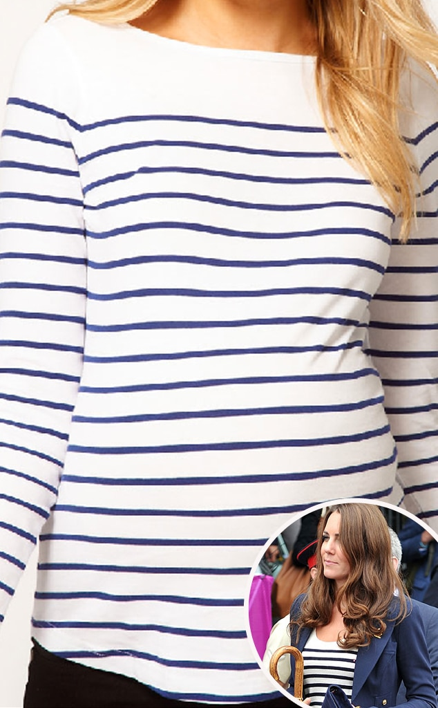 Kate Middleton, Catherine, Duchess of Cambridge, ASOS Maternity Top in Cotton Breton Stripe with Long Sleeves