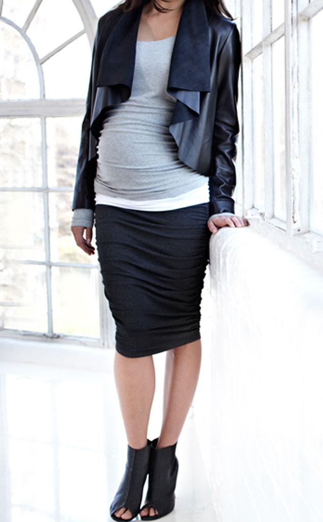 Kim Kardashian Maternity Must Haves, Midi Ruched Skirt