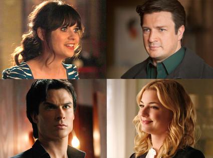 Emily Van Camp, Revenge Ian Somerhalder, The Vampire Diaries Zooey Deschanel, New Girl Nathan Fillion, Castle