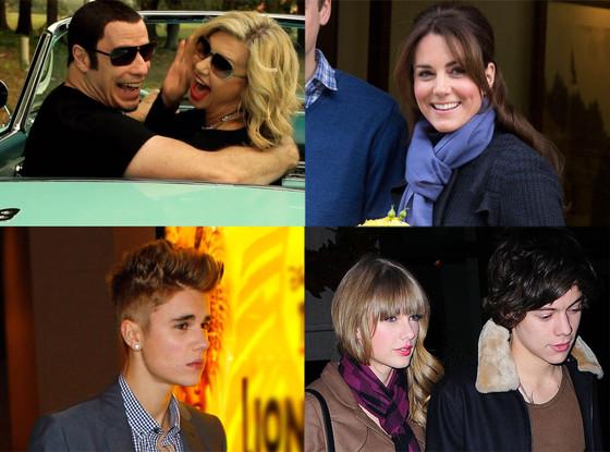 Olivia-Newton John , John Travolta, Justin Bieber, Taylor Swift, Harry Styles, Kate Middleton