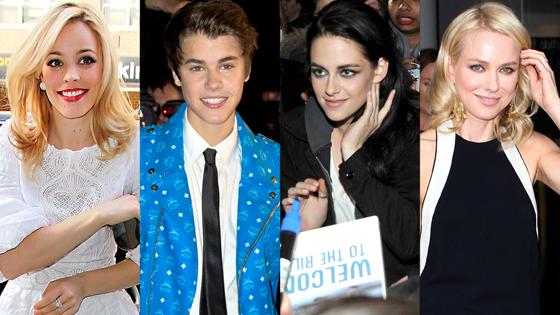 Rachel McAdams, Justin Bieber, Kristen Stewart, Naomi Watts