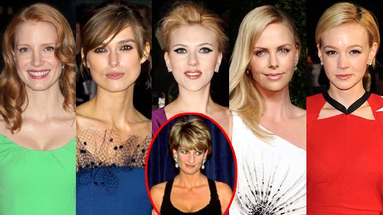 Princess Diana, Keira Knightley, Jessica Chastain, Charlize Theron, Scarlett Johansson, Carey Mulligan