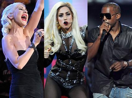 Lady Gaga, Christina Aguilera, Kanye West