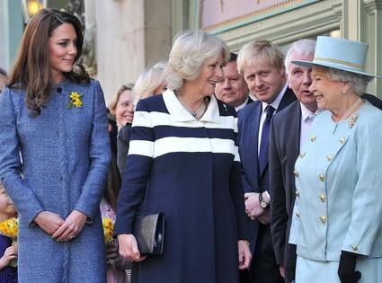 Britain's Queen Elizabeth II, Camilla, Duchess of Cornwall, Catherine, Duchess of Cambridge, Kate Middleton
