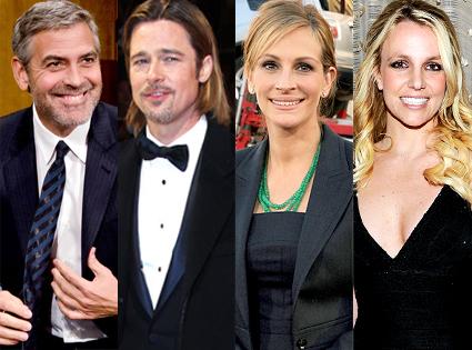 George Clooney, Brad Pitt, Julia Roberts, Britney Spears