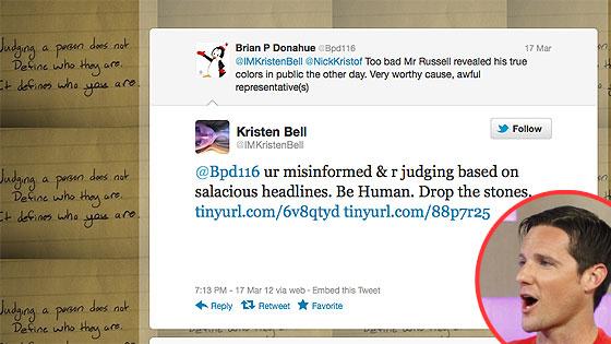 Kristen Bell, Jason Russell, Twitter