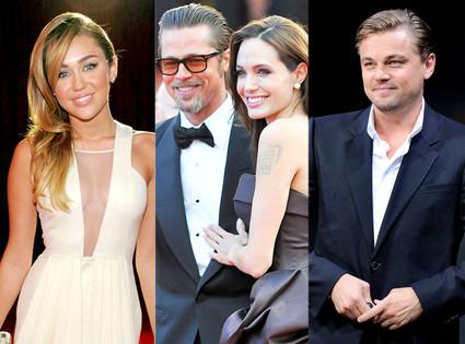Miley Cyrus, Brad Pitt, Angelina Jolie, and Leonardo DiCaprio