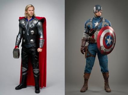 Thor, Captain America, Wax Figures