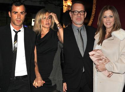 Tom Hanks, Rita Wilson, Justin Theroux, Jennifer Aniston