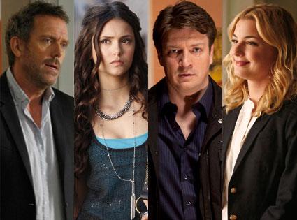 Nathan Fillion, Castle Nina Dobrev, Vampire Diaries Hugh Laurie, House Emily Van Camp, Revenge
