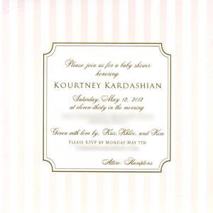 Kourtney Kardashian, baby shower invite