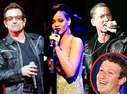 Eminem, Bono, Rihanna, Mark Zuckerberg