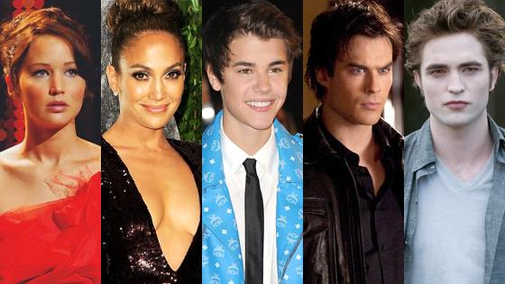 Jennifer Lawrence, Robert Pattinson, Ian Somerhalder, Jennifer Lopez, Justin Bieber
