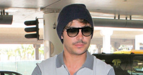 Zac Efron Shows Off His Manly Mustache At Los Angeles