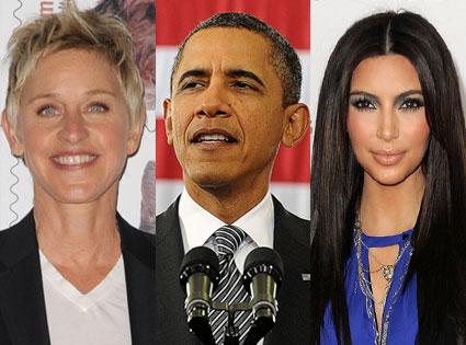 ellen degeneres, barack Obama,  kim kardashian