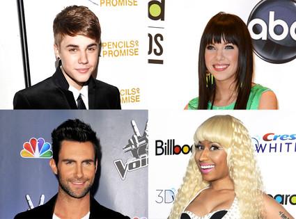 Justin Bieber, Carly Rae Jepsen, Adam Levine and Nicki Minaj