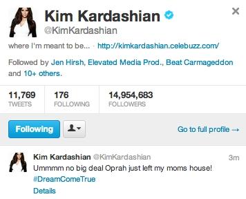 Kim Kardashian Oprah Tweet Chelsea
