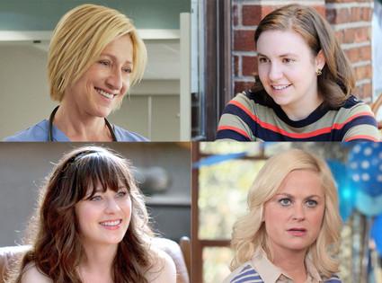 Edie Falco, Nurse Jackie, Amy Poehler, Parks and Recreation, Zooey Deschanel, New Girl, Lena Dunham, Girls