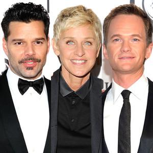 Neil Patrick Harris, Ellen Degeneres, Ricky Martin