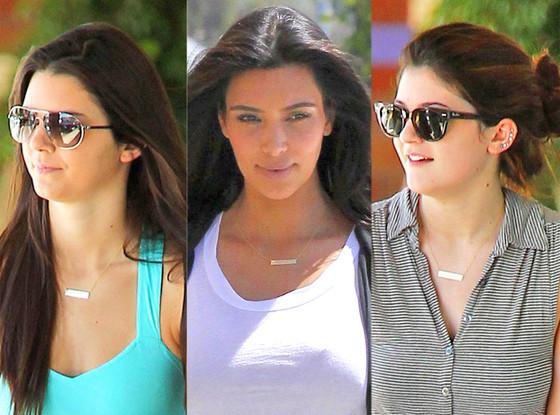 Kim Kardashian,Kendall Jenner, Kylie Jenner, necklace