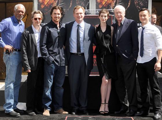 Morgan Freeman, Gary Oldman, Christian Bale, Christopher Nolan, Anne Hathaway, Sir Michael Caine, Joseph Gordon-Levitt