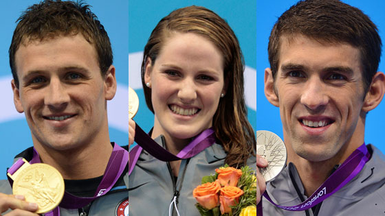 Michael Phelps, Missy Franklin, Ryan Lochte