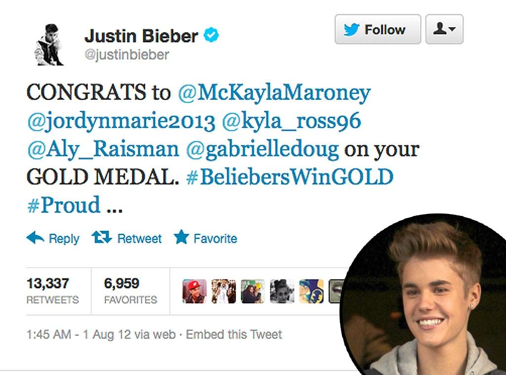 Olympic Tweets, Justin Bieber