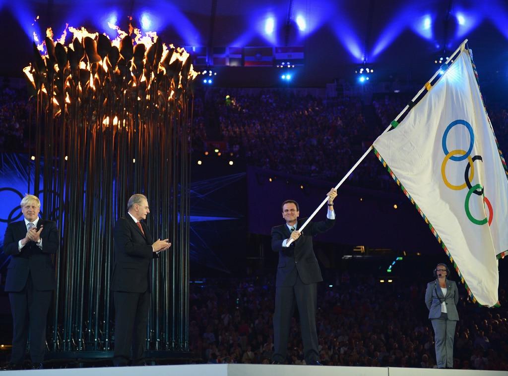Closing Ceremony London 2012 Olympic Games, Mayor of London, Boris Johnson, IOC President Jacques Rogge, Mayor of Rio de Janeiro, Eduar