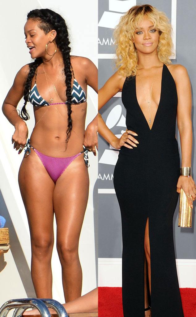 Rihanna, Bikini vs Red Carpet