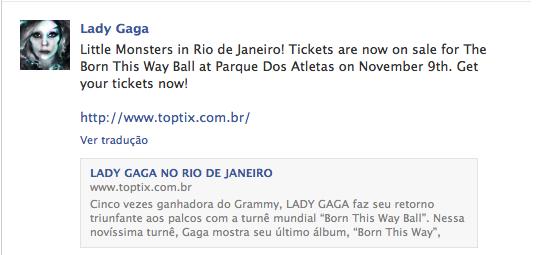 Lady Gaga, Facebook