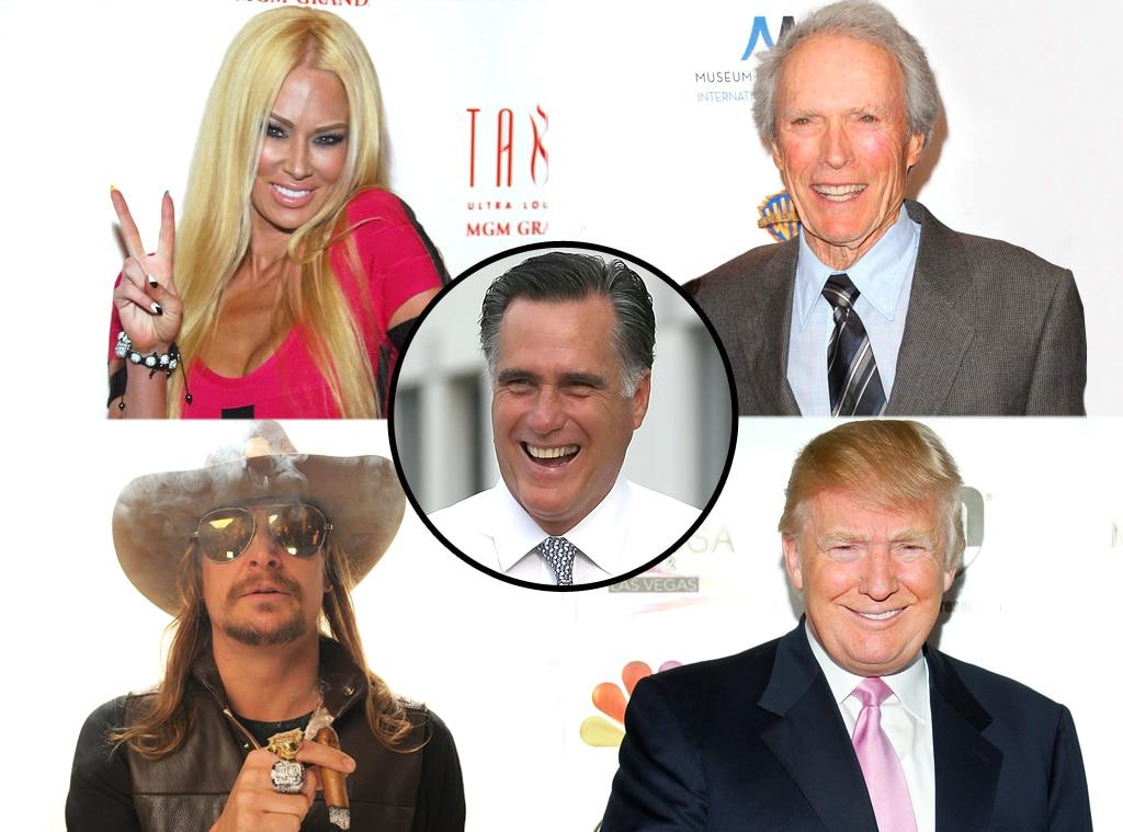 Mitt Romney, Clint Eastwood, Jenna Jameson, Kid Rock, Donald Trump