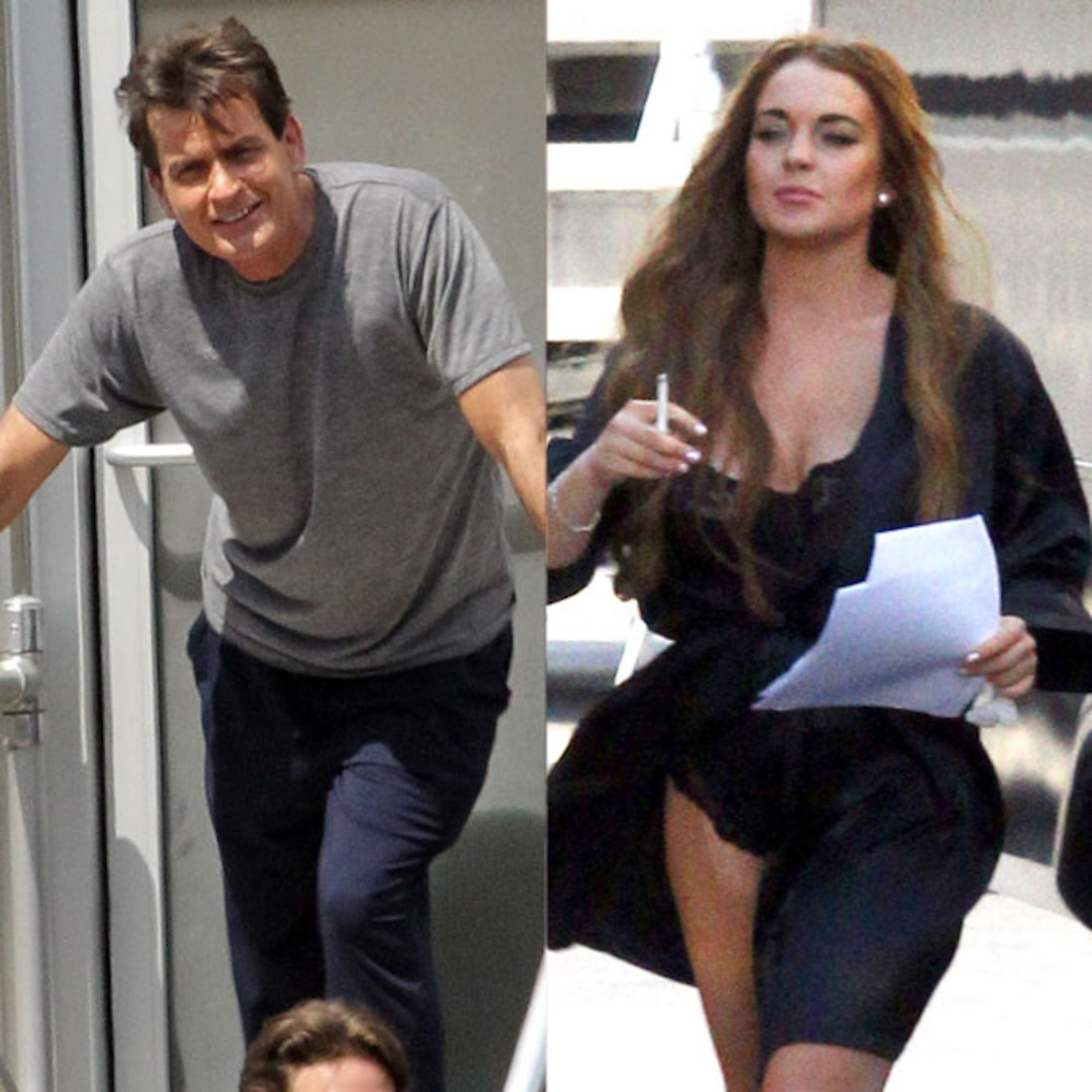 Charlie Sheen S Scary Lindsay Lohan Run In Stars Arrive On The Set Of Scary Movie 5 E Online Uk