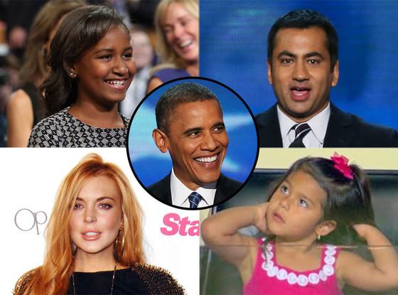 Sasha Obama, Lindsay Lohan, Kal Penn, Carina Castro, Barak Obama