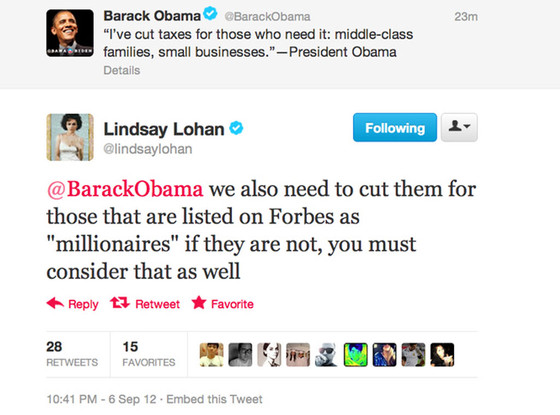 President Barack Obama, Lindsay Lohan, Twitter