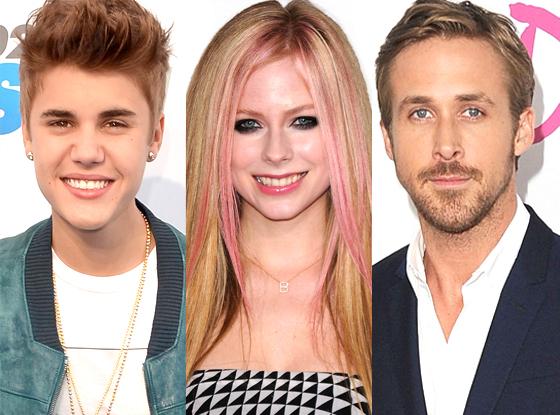 Justin Bieber, Avril Lavigne, Ryan Gosling