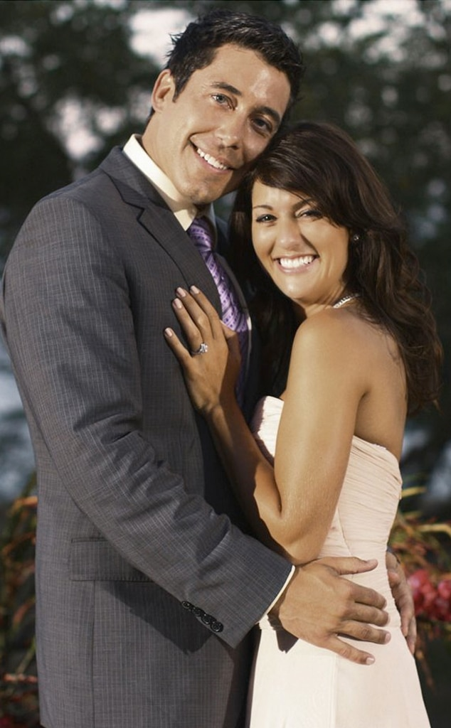 The Bachelorette,  Season 5 (May 2009) - Jillian Harris ,  Jason Mesnick 's reject and the first foreign/Canadian bachelorette, said yes to  Ed Swiderski  after he proposed to her in the finale. Ed might also be remembered for having to leave in week 5 in order to keep his new job with Microsoft, but he managed to return in week 7.