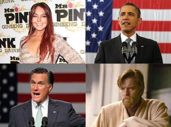 Mitt Romney, Barack Obama, Lindsay Lohan, Ewan McGregor
