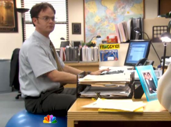 The office 39 s john krasinski shares his favorite dwight prank watch now e news - Stability ball for office ...