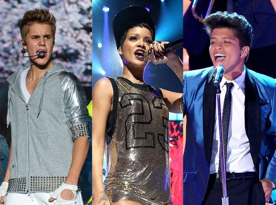 Bruno Mars, Rihanna, Justin Bieber