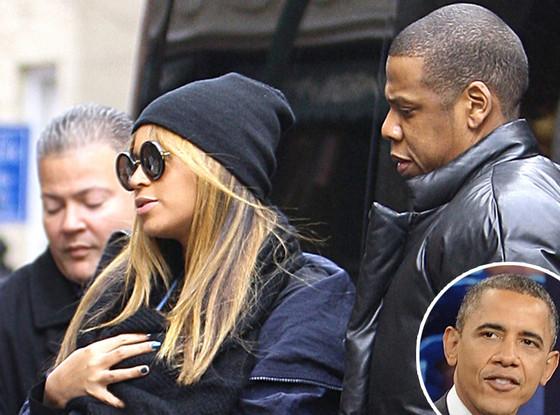 Beyonce, Jay-Z, Blue Ivy, Barack Obama