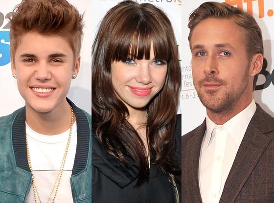 Justin Bieber, Carly Rae Jepsen, Ryan Gosling