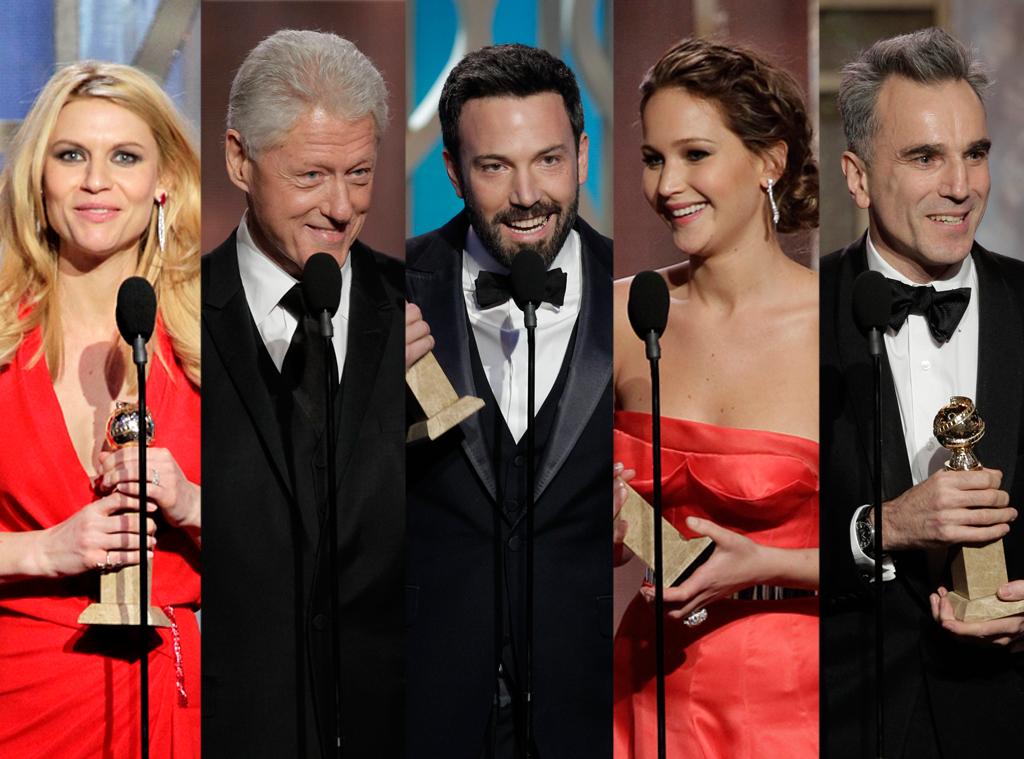 Claire Danes, Bill Clinton, Ben Affleck, Jennifer Lawrence, Daniel Day-Lewis