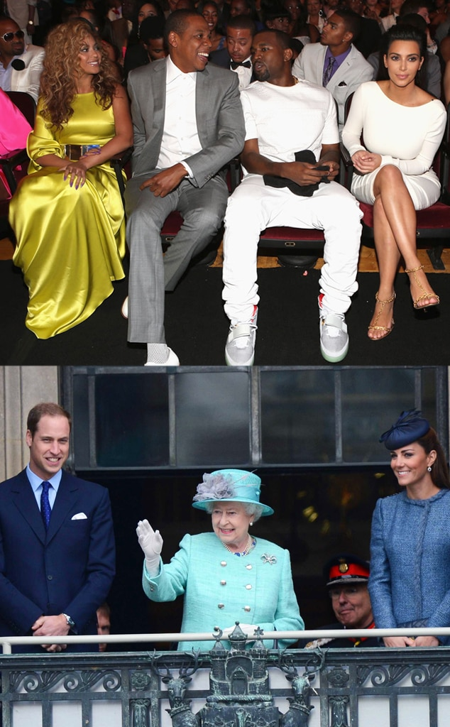 Beyonce, Jay-Z, Kanye West, Kim Kardashian, Prince William, Queen Elizabeth, Duchess Catherine, Kate Middleton