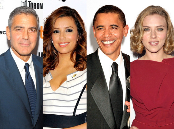 George Clooney, Eva Longoria, Barack Obama, Scarlett Johansson